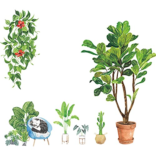 Adhesivo decorativo para pared, diseño de plantas verdes, gato rural, relajante, para habitación de casa