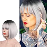 Sofeiyan Short Straight Grey Bob Wigs with Bangs 11 inch Synthetic Daily Party Cosplay Hair Wig for Black Women, Grey