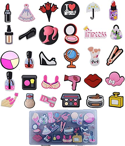 30 pcs Cosmetic Makeup Shoe Charms for Shoes Decoration & Wristband Bracelet,Make Up Lipstick Dress Shoes Purse Shoe Charms,Fit for Women/Girls/Teen's Party Birthday/Festival Gifts