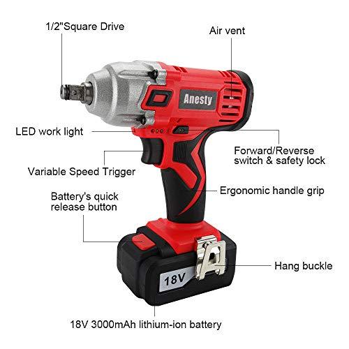 ANESTY - Clé à chocs électrique Sans Fil, Visseuse à Chocs Sans fil, Boulonneuse sans-fil, 240Nm 18V batterie Li-ion 3,0 Ah