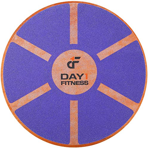 "Day 1 Fitness Balance Board, 15.4"" – PURPLE - 360° Rotation, for Balance, Coordination, Posture - Large, Wooden Wobble Boards with 15° Tilting Angle for Workouts - Premium Core Trainer Equipment"