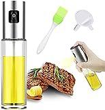 Guizu Pulverizador Aceite,Pulverizador de Aceite portátil,100 ML Dispensador Aceite con Cepillo y Embudo, de Vidrio 100 ML para cocinar/Ensalada/Hornear Pan/BBQ/Cocina.(1PACK)