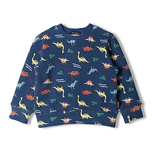 【子供服】 moujonjon (ムージョンジョン) ネット限定日本製裏起毛恐竜総柄トレーナー 80cm〜130cm M64620
