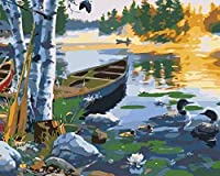 大人のための番号キットによるペイント子供DIYデジタルキャンバス絵画ギフト番号によるペイント家の装飾40x50cmフレームレス湖&木製ボート