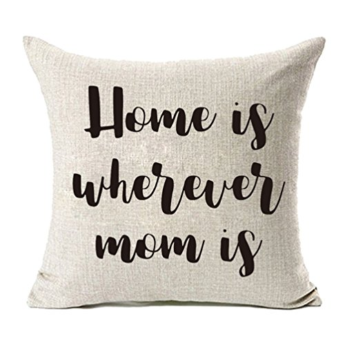 MFGNEH Home is Wherever Mom is Cotton Linen Throw Pillow Covers,Pillow Case Cushion Cover 18x18,Mom...