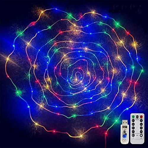 Cestamor Guirnalda Luces USB 12M 120 Led Luces de Hadas Impermeable 8 Modos Luces de Cadena para Decorativas Tubo PVC Luces Cobre Interior Exterior, Navidad, Fiestas, Balcón