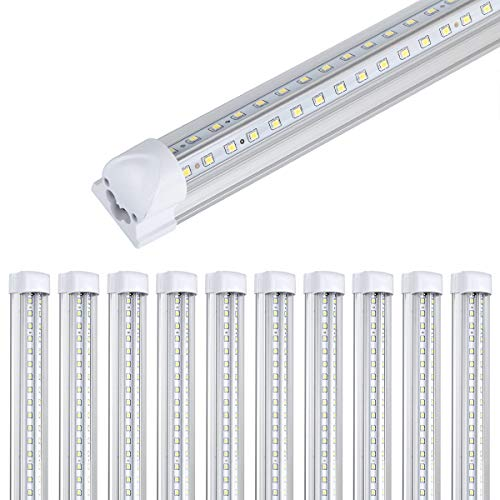 10Pack 8Ft LED Shop Light Fixture,90W 10000 Lumens 5000K Daylight White, Clear Cover,V Shape T8 Integrated 8 Foot Led Tube Light for Cooler,Garage,Warehouse