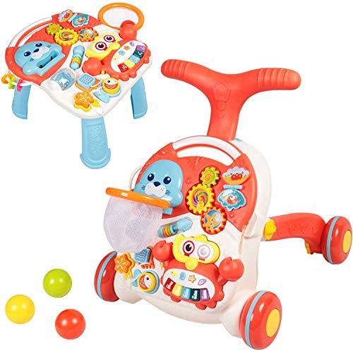 Lauflernhilfe für Jungen und Mädchen - Sit-to-Stand- lauflernwagen - lauflernhilfe für babys mit Aktivitätstabelle - Activity Walker für Baby und Mädchen (Rosa)