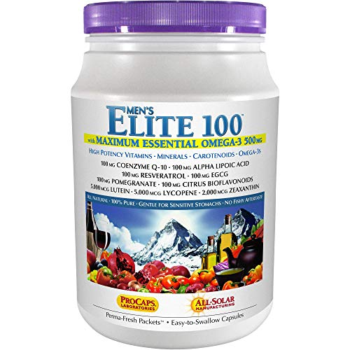 Andrew Lessman Multivitamin - Men's Elite-100 with Maximum Essential Omega-3 500 mg 120 Packets – 40+ Potent Nutrients, Essential Vitamins, Minerals, Phytonutrients and Carotenoids. No Additives