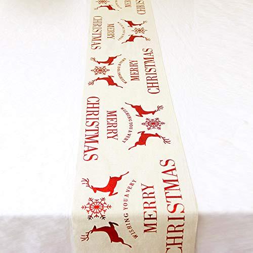 Chemin de table de Noël en lin avec motif de flocons de neige de cerf pour Noël, la saison des vacances, la maison, la décoration de Noël, 11 x 106 cm (blanc crème)