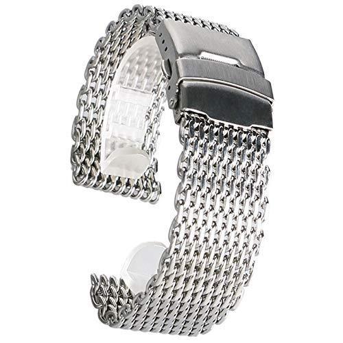 Elegante Reloj Correa 18mm 20 mm 22 mm 24mm de reloj de reloj de reloj de plata con malla de plata de acero inoxidable reloj de pulsera de pulsera de moda Reemplazo de la pulsera de moda + 2 barras de