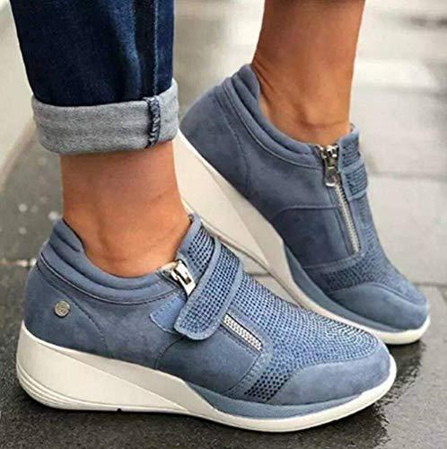2020 zapatillas de deporte del dedo del pie redondo de las enredaderas de las mujeres del Rhinestone de la zapatilla de deporte plana de última moda de la cremallera lateral Velcro Zapatos,Azul,39