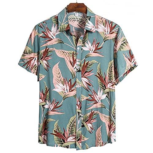 Shirt Playa Hombre Verano Estampado Transpirable Moda Hombre Shirt Ocio Cuello Kent Tapeta Manga Corta Hombre Shirt Ligera Hawaii Surf Hombre T-Shirt