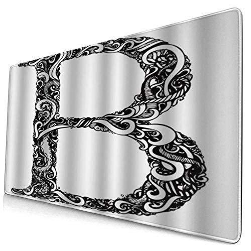 DYCBNESS Alfombrilla de Ratón Gaming Letra B Blanco y Negro Remolinos Abstractos Diseño clásico Alfabeto en mayúsculas Símbolo Imprimir Superficie Texturizada Antideslizante para Gamers Oficina