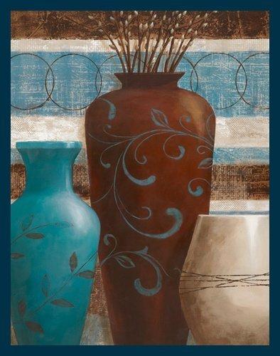 Bild mit Rahmen Nan - Rustic Lodge II - Digitaldruck - Holz blau, 50 x 63.5cm - Premiumqualität - Stillleben, Blumenvasen, Vasen, Zweige, Weidenkätzchen, Muster, Ornamente, S.. - MADE IN GERMANY - ART-GALERIE-SHOPde