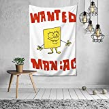 ANNBITION Spongebob Squarepants Classic Decorative Wall Blanket Tapestries for Bedroom Living Room Dorm Decor 60' X 40'Inchesblack