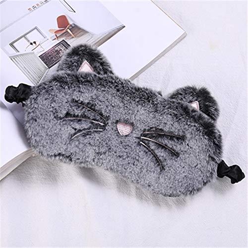 Leuke grijze kat lange oor konijn oog masker pluche slapen masker oogschaduw cover blinddoek bril oogschaduw reizen huis cadeau Grijze kat