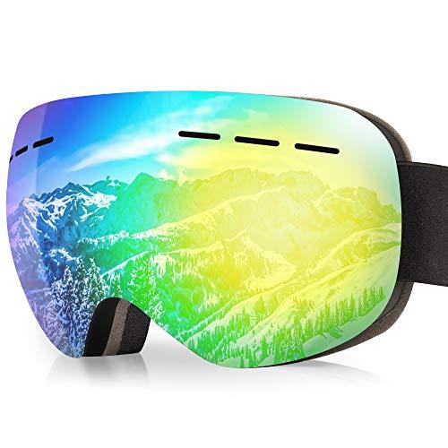 arteesol Skibrille, Snowboardbrille mit Anti-Fog, 100% UV400-Schutzbrille Sportbrillen von Dual Lens für Herren, Damen, Jugendliche, Helmkompatibel (Schwarzer Rahmen (goldene Gläser))