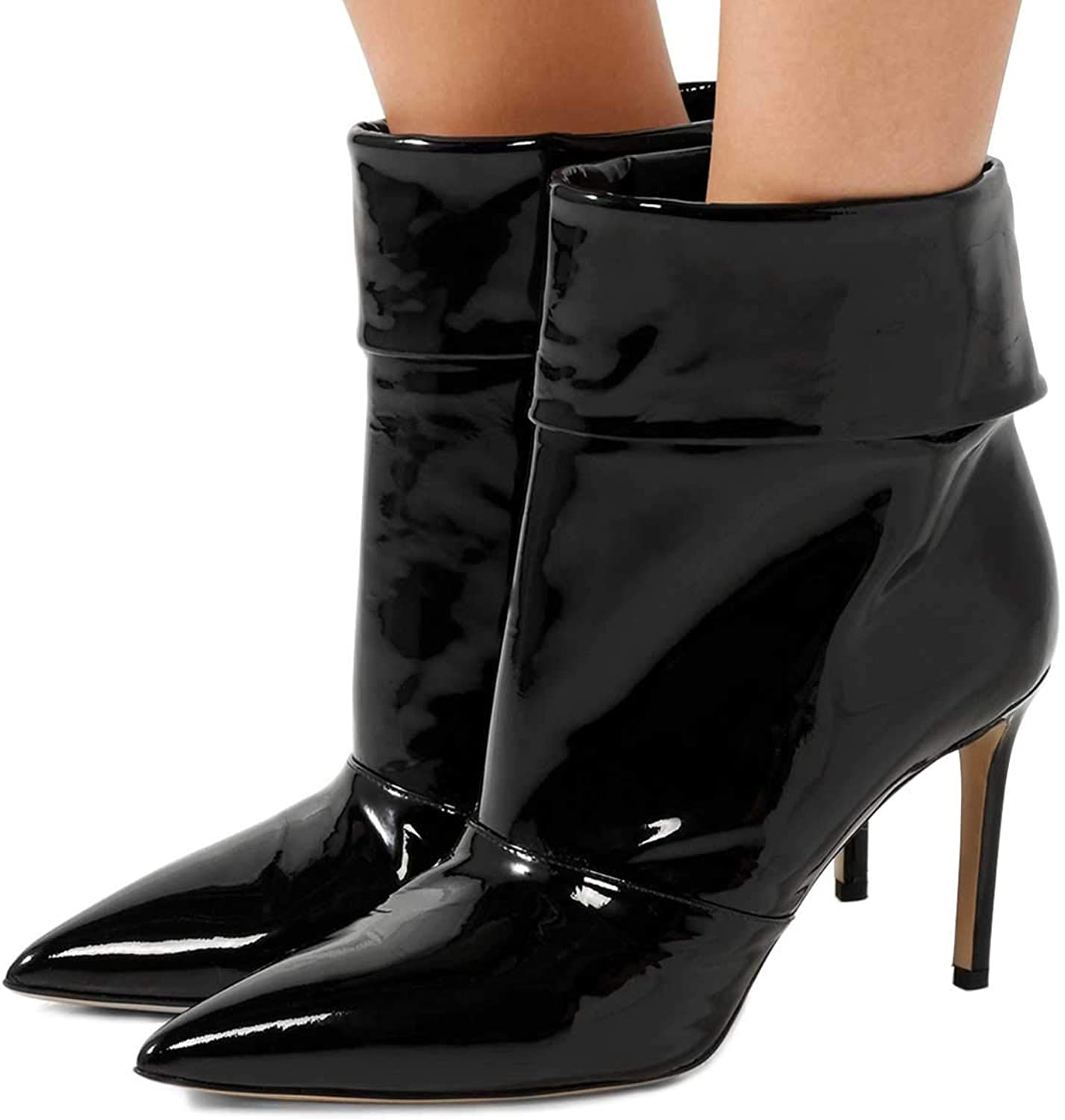 FSJ Women Spike Thin High Heels Ankle Boots Closed Pointy Toe Winter Booties with Collar Size 4-15 US