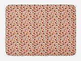 ABAKUHAUS Comida Tapete para Baño, Cocina Fresca Manzana Zanahoria, Decorativo de Felpa Estampada con Dorso Antideslizante, 45 cm x 75 cm, Multicolor