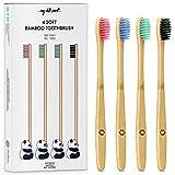 My White Secret - Set de 4 cepillos de dientes madera de Bambú,...