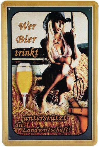 Blechschild Wer Bier trinkt. 20 x 30cm Reklame Retro Blech 527