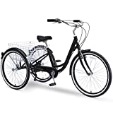sixthreezero Body Ease 26 Inch 7-Speed Adult Tricycle with Rear Basket, Matte Black, One Size (630338)