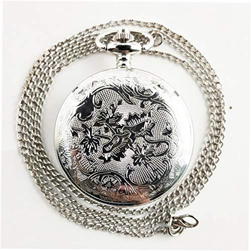 Quarz-Taschenuhr mit Halskette und Anhänger für Damen und Herren, Vintage-Stil, geschnitzt, antikes rundes Zifferblatt, tolles Geschenk