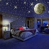 ウォールステッカー 直径30cm 光る月 蓄光ステッカー(日本語説明書付) 子供部屋に最適♪ (月)