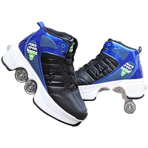 Patines en línea, zapatos de patinaje para hombres y mujeres, botas de senderismo automáticas para adultos, botas invisibles con polea de dos filas Deform Road Black 3 41