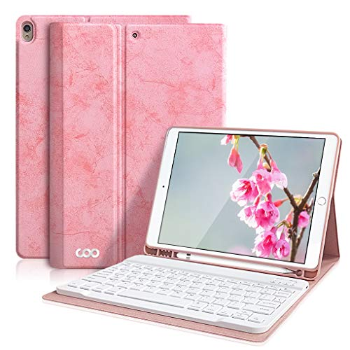 iPad Pro 10.5 Keyboard Case for iPad Air 3 10.5' 2019 (3rd Gen)/iPad Pro 10.5' 2017- Detachable Wireless Bluetooth Keyboard, Magnetic Smart Cover with Built-in Pencil Holder (Pink)