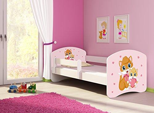 Clamaro 'Fantasia Weiß' 160 x 80 Kinderbett Set inkl. Matratze und Lattenrost, mit verstellbarem Rausfallschutz und Kantenschutzleisten, Design: 33 Kätzchen