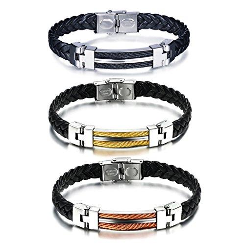 Yumilok Bracelet pour Homme en Acier Inoxydable et Cuir tressé Noir à la Mode Trois pièces Noir Or et Orange