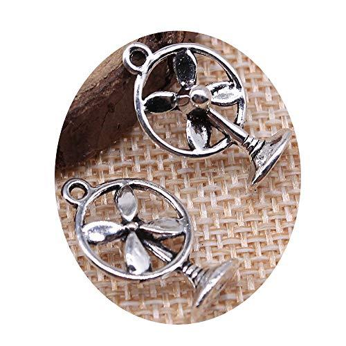 honggui1111-30pcs 21x13mm pequeño ventilador eléctrico encanto colgantes para joyería que hace encanto