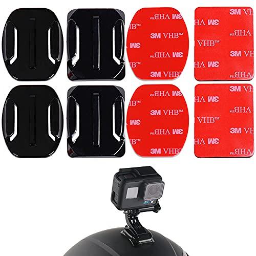 Vegena 4 Stück Klebepads Pads ,Klebehalterung Flache Gebogene Klebepad Helm Halterung ,Helmbefestigung für Sportkameras,Action-Kamerahalterung, GoPro Hero 5/4/3+