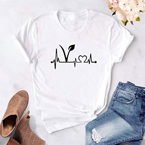 XBRTFH Tshirt Femmes Vegan Heartbeat Lifeline Imprimer Casual Drôle T-Shirt pour Dame Fille Top Tee Femme Végétarien T-Shirt