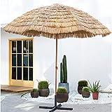 ELLENS Sombrilla Hawaiana Tiki con Techo de Paja, 3 m / 10 pies, sombrilla Redonda Grande, sombrilla de Patio de Playa para Piscina al Aire Libre