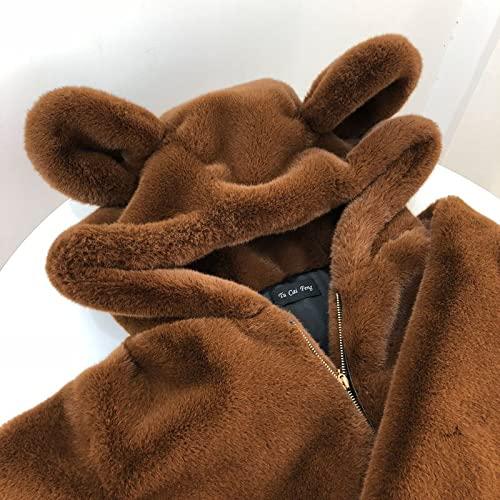 Engpai Invierno nuevo lindo oso oído felpa esponjoso abrigo suelto simulación nutria pelo medio-longitud simulación piel capa chica S-Peso45-52.5kg marrón (espesado)