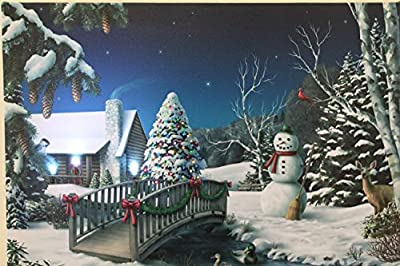 Festive Snowman & Christmas Tree Canvas Picture with LED Lights.