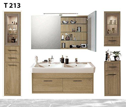 regalwelt Serie Timbery T213 - Mobile da Bagno con Specchio, Alto e Basso