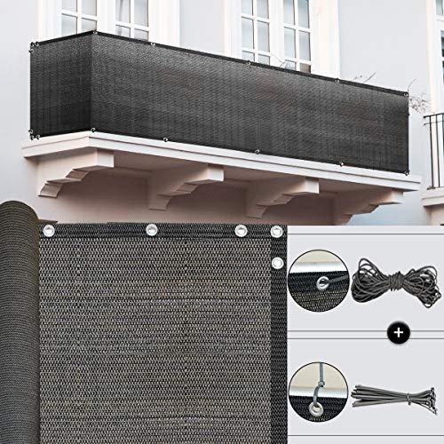 Balkon Sichtschutz Balkonumspannungen für Balkonabdeckung 185G/m² (Schwarz Grau 90x600cm) Wetterfest Pflegeleichtes Schnell Trocknend UV-Schutz Reißfest, mit Ösen und Nylon Kabelbinder und Kordel