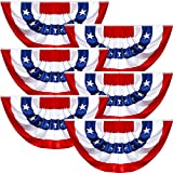 USA Pleated Fan Flag American US Bunting Flag Patriotic United States Porch Flags Stars and Stripes Grommets Half Fan Banner for Indoor Outdoor Decoration (6, 1.5 x 3 Feet)