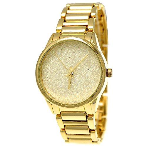 Elegante Ny London Designer Damen-Uhr Strass Analog Quarz Armband-Uhr in Gold