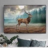 ganlanshu Decoración de Ciervos del Bosque Ciervos de Animales en Lienzo impresión de Arte póster Mural hogar Dormitorio decoración de la Pared,Pintura sin Marco,60x90cm