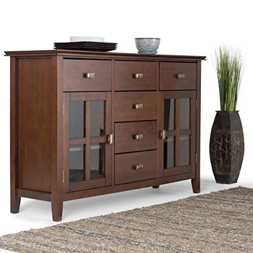 SIMPLIHOME Artisan SOLID WOOD 54 inch Wide Contemporary Sideboard Buffet Credenza in Russet Brown