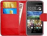 G-Shield Hülle für HTC Desire 620/620g Klapphülle mit Kartenfach - Rot