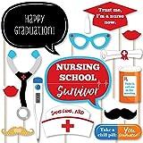 Big Dot of Happiness Nurse Graduation - Medical Nursing Graduation Photo Booth Props Kit - 20 Count