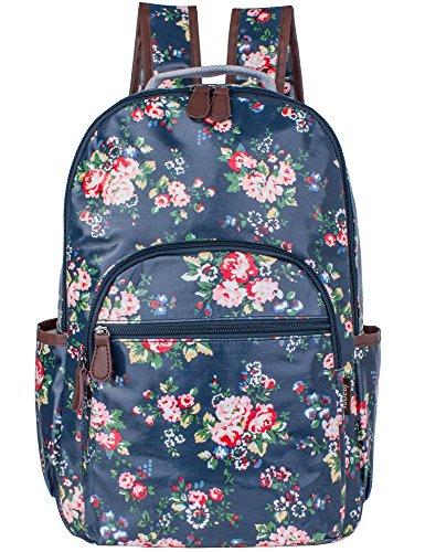 Leaper wasserdichte Leinwand + PVC Schicht Schule Rucksack hübsch floral Laptop Tasche lässig Daypack (Blau)