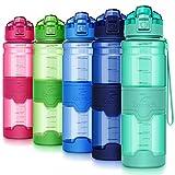 ZOUNICH Trinkflasche Sport BPA frei Kunststoff Sporttrinkflaschen für Kinder Schule, Joggen, Fahrrad, öffnen mit Einer Hand Trinkflaschen Filter, Smaragd-klar, 32oz/1000ml