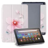 TiKeDa Case for All-New Fire HD 8/HD 8 Plus/HD 8 Kids (10th gen,2020 Release),8-Inch,Soft TPU Translucent Back Slim Cover Shell with Auto Wake/Sleep (Flower)
